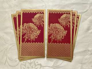 6pcs HSBC PREMIER floral red packet / ang pow pao