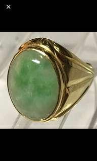 20K/850 Yellow Gold {Collectibles Item - Vintage Jade Ring} Classy Vintage Solid 20K/850 Yellow Gold Genuine Type A Natural Old Jade【老坑玉】Men Jade Ring Come With NGI Gemstone Report