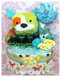 Baby shower gift / diaper cake (mama dog & puppies)