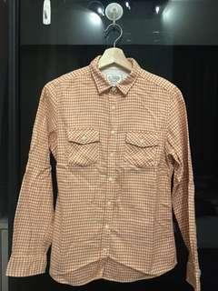 🚚 橘格紋棉襯衫 (日本購回)全新