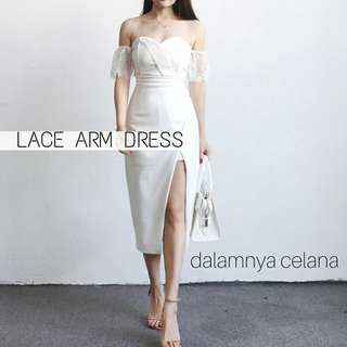 RESTOCK BEST SELER! 100% IMPORT HK!!  LACE ARM DRESS (dalam celana)