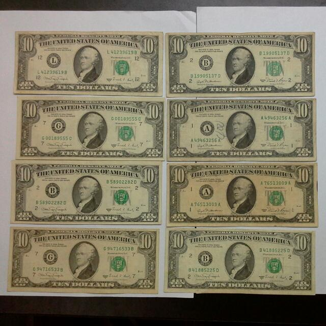 8 Usa United States 10 1981 1988 Notes Usd Us Dollars Vintage Collectibles Currency On Carou