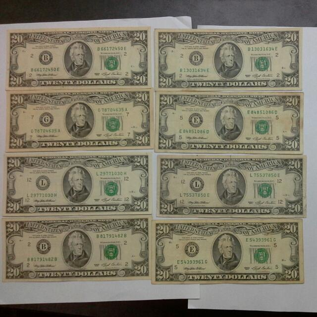 8 Usa United States 20 1993 Notes Usd Us Dollars Vintage Collectibles Currency On Carou