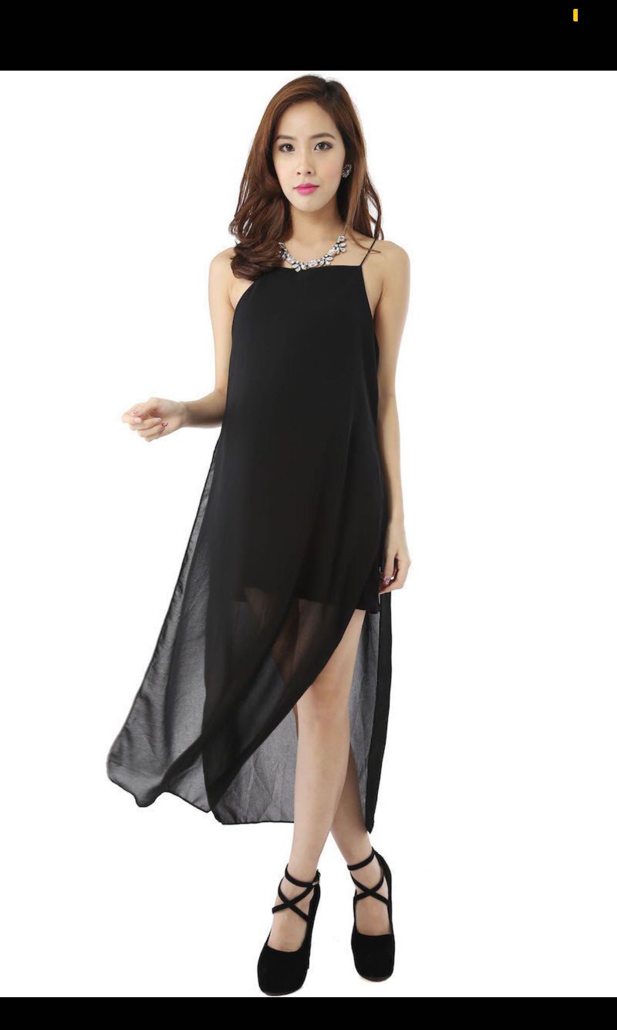 b332cb2dfb Carrislabelle Chiffon Maxi black dress, Women's Fashion, Clothes ...