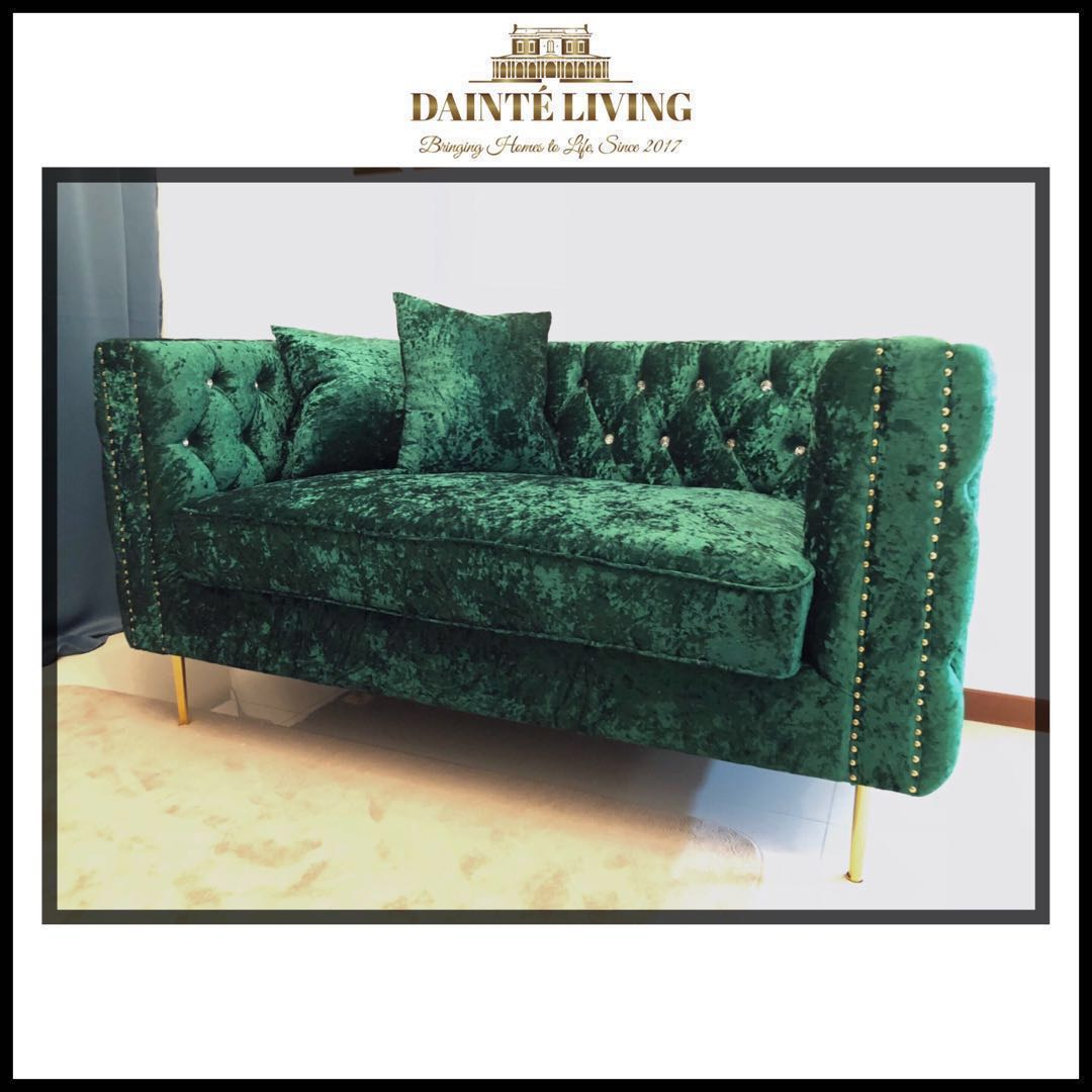 Green Loveseat In Crushed Velvet