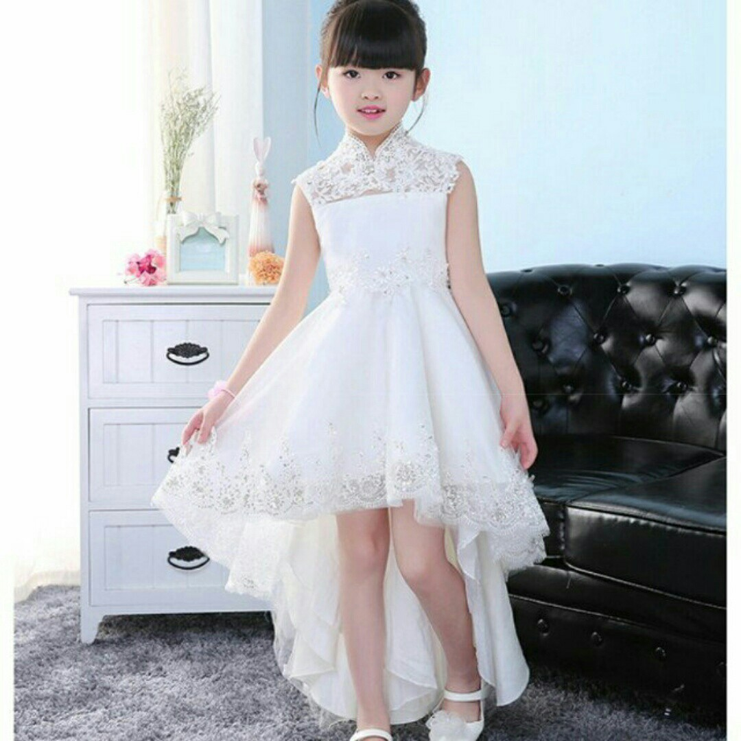 330ccfa296 Exquisite Hollow Back Hi low White Wedding Dress Gown Girls Kids ...