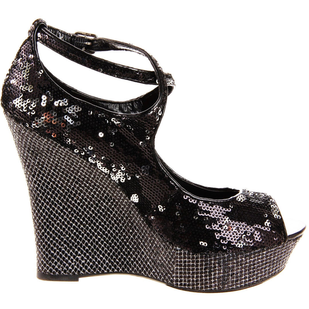 2b3946916604 FARENHEIT BLACK SEQUIN sparkle CROSS STRAP WEDGE shoes NEW club party heels,  Women's Fashion, Shoes on Carousell