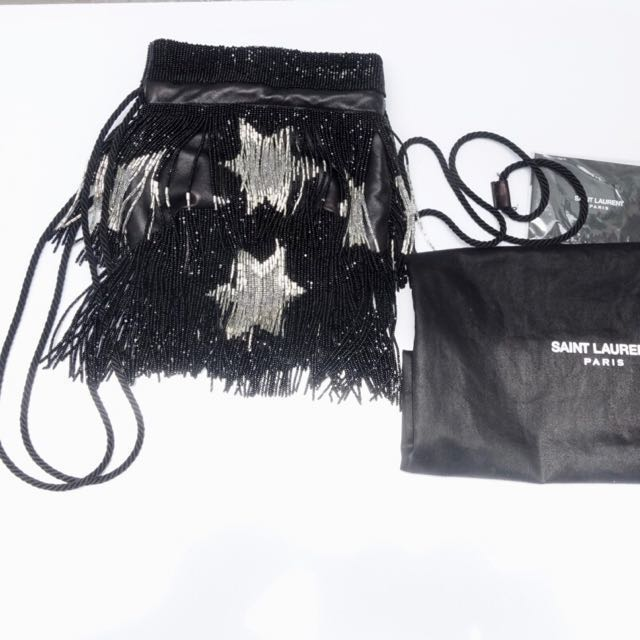 1a2feab9d2 Final Sale! Saint laurent Black Stars Beaded Fringe Nappa Bucket Bag ...
