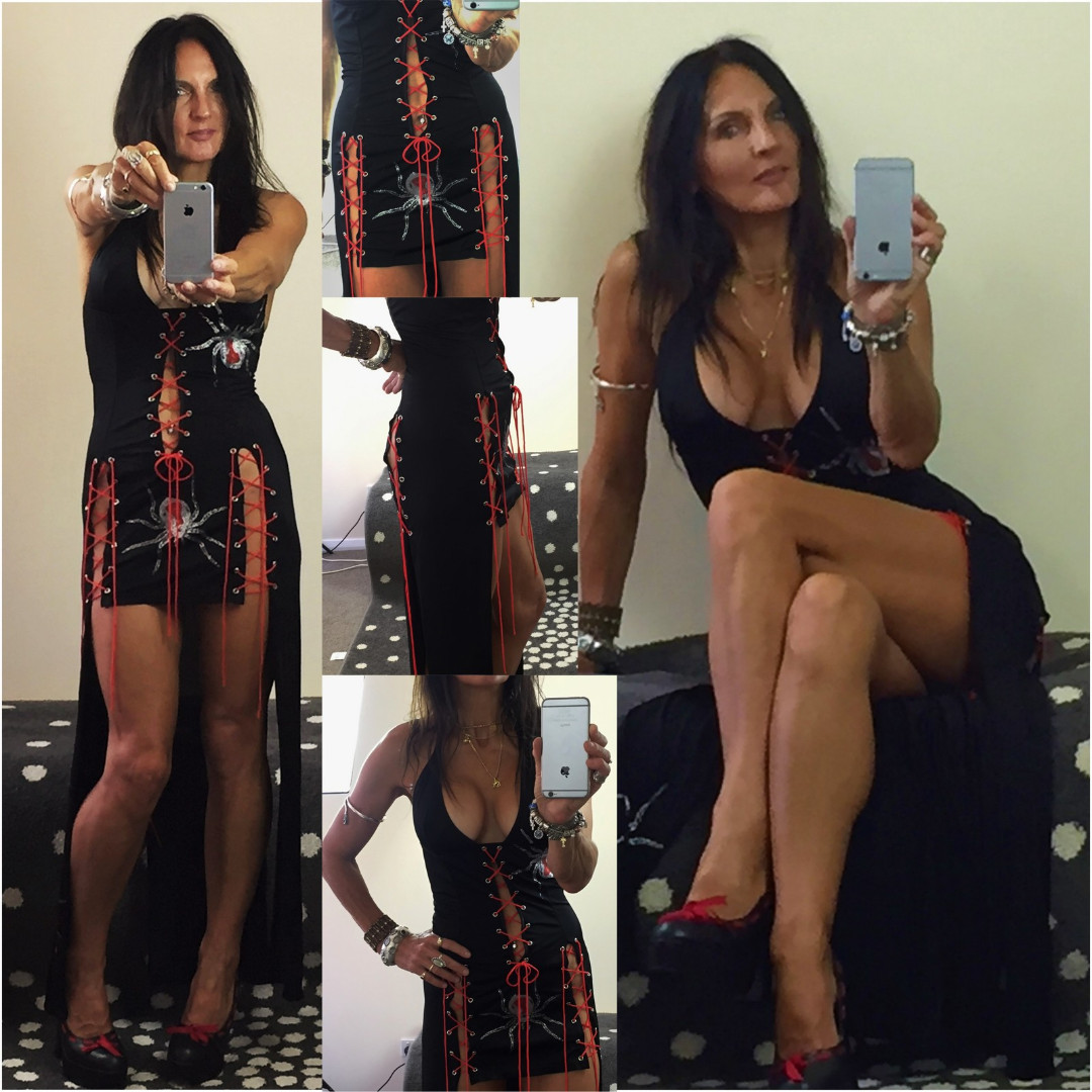 GOTH LACE-UP red black PLUNGE HALTER LONG SEXY mini DRESS sz 8 - 12 bodycon