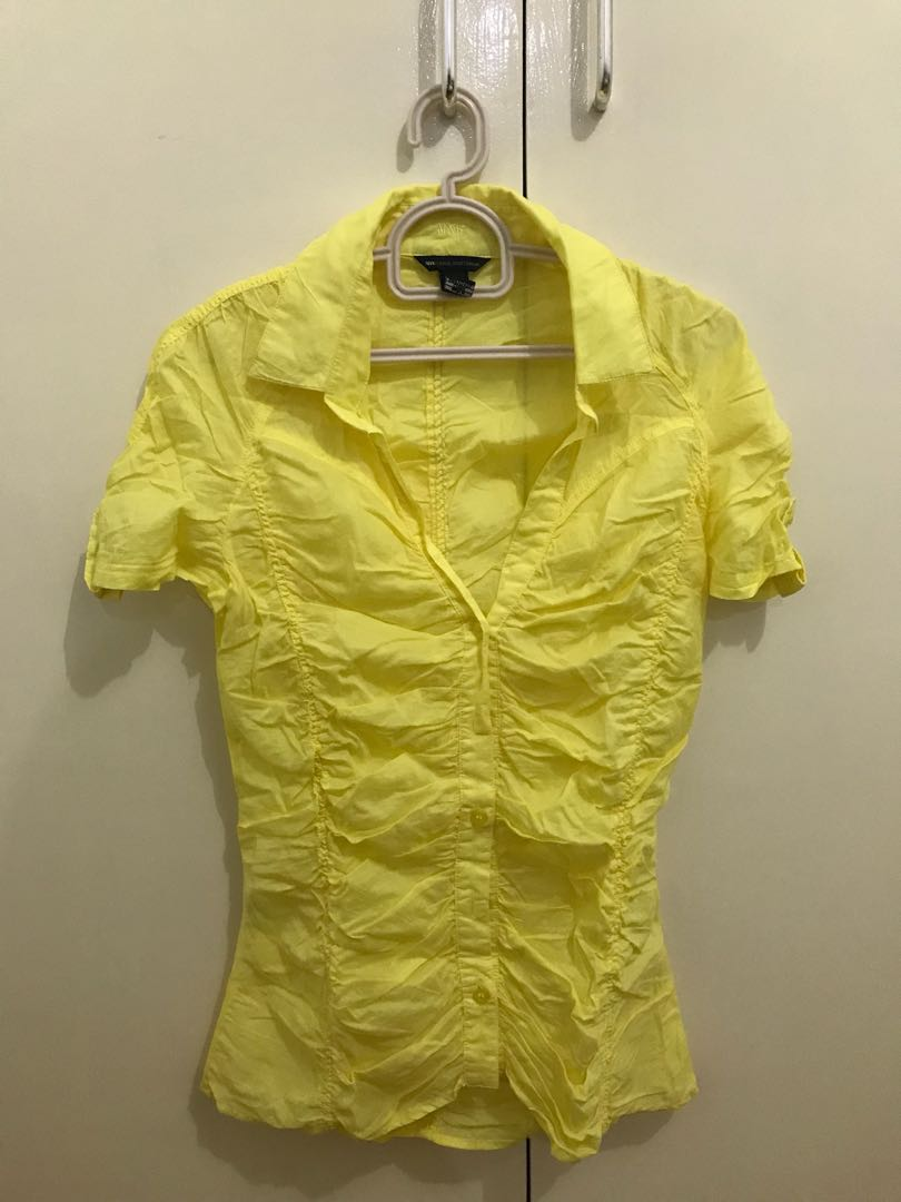 6227c5fe Mango Yellow Button-up Blouse, Women's Fashion, Clothes, Tops on ...