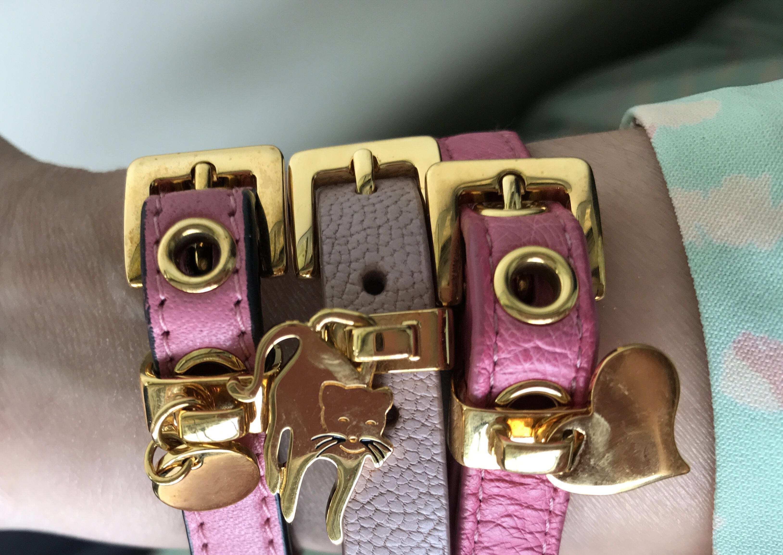 sold green heart miu bracelet st buckle leather cocco hw dsc golden
