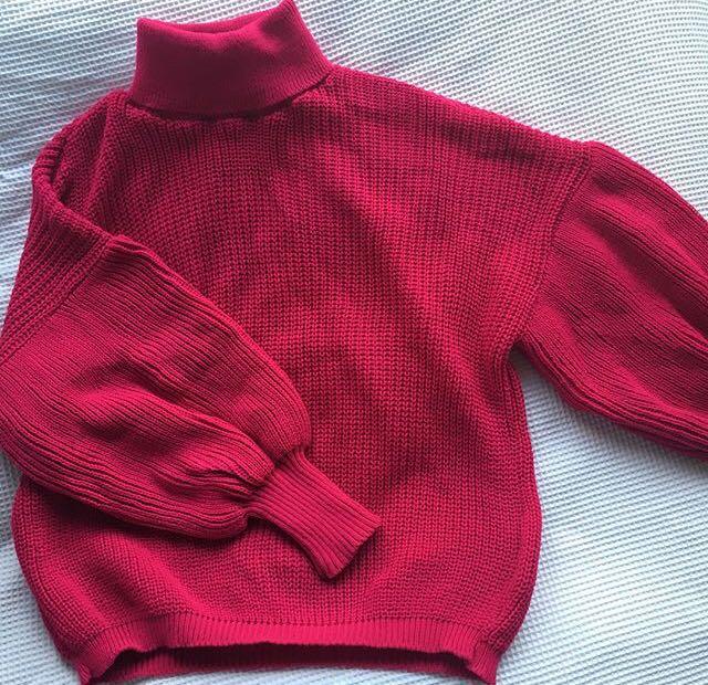 Pink balloon sleeve jumper