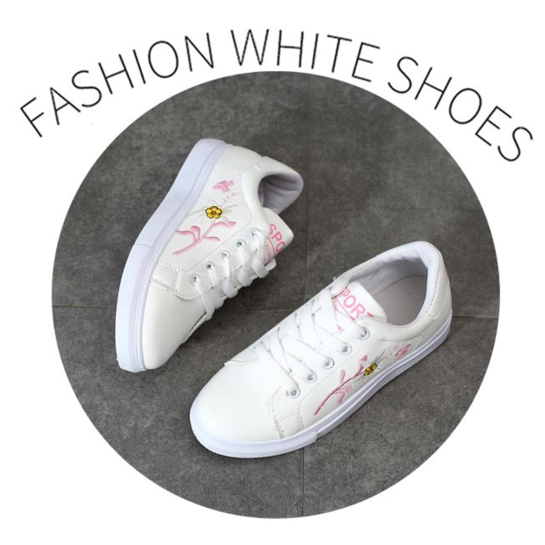 960c2f22dc6 Ready stock Fashion Girl Women Ladies White Shoes Flower Design ...