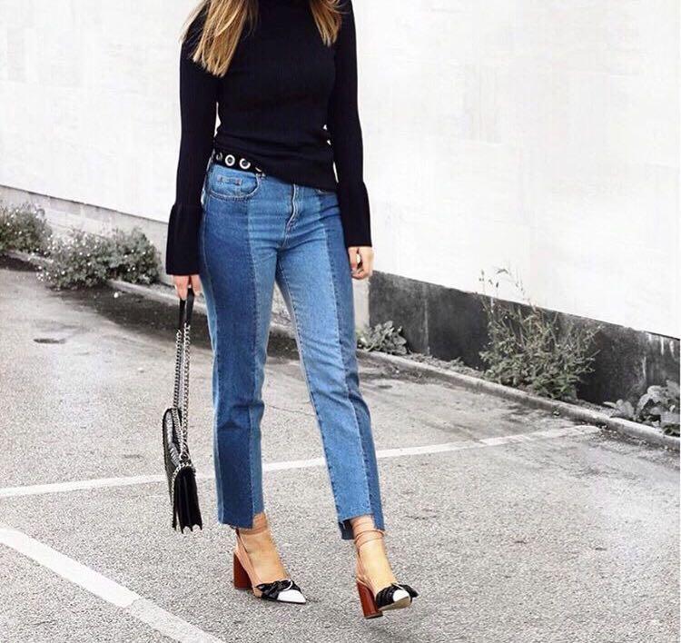 e2ffbc56e81 Stylenanda two tone uneven hem jeans