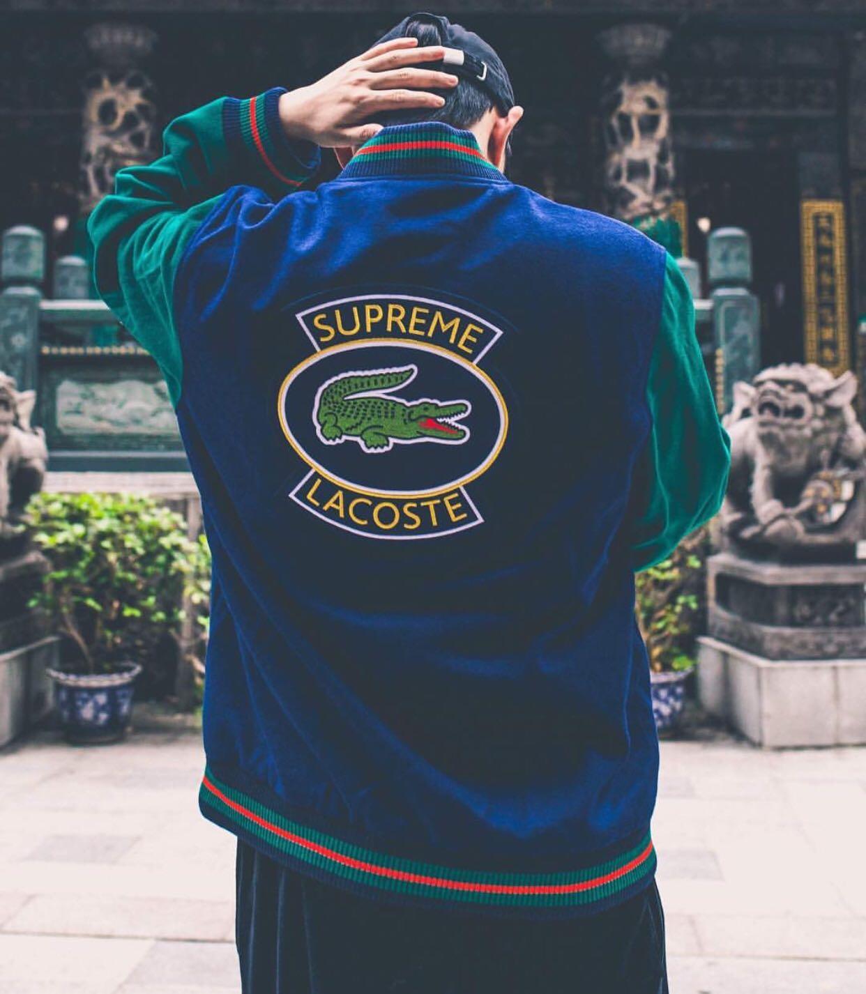 Supreme Lacoste Wool Varsity Jacket Navy Men S Fashion Clothes
