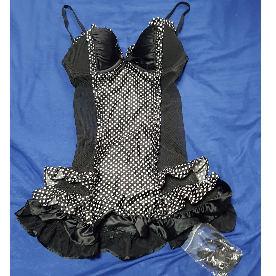 75af93e832 Victoria s Secret VS Sexy Little Things Black Maid Polka Dot Costume ...