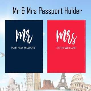 Custom Personalised Passport Cover - Mr and Mrs