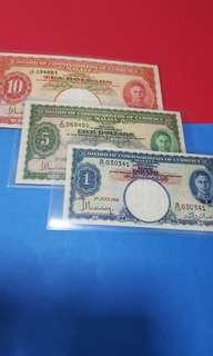 1941-malaya set of 3pcs original paper.$1-$5 originalGEF++.$10.GVF