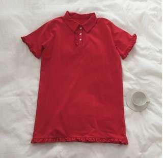 大紅色荷葉邊polo衫