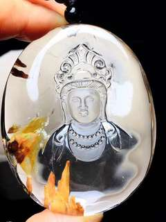 Collectibles!! Nature's rock crystal! Unlike crystal! Natural stone - stone guanyin bodhisattva pendant!