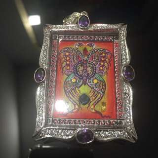 Butterfly Amulet Block B with Gems and UV painted colours, strongly bless by Kruba Krissana. Include beautiful micron casing