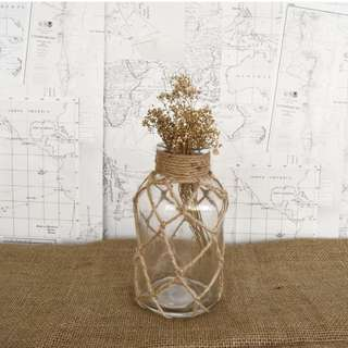 RENT: Twine Rope Netted Glass Bottle (M size) x 2