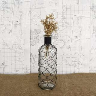 RENT: Black Wire Netted Glass Bottle (L size) x 2