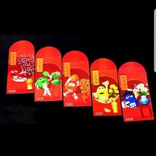 5pcs 2004 M&M Red Packet *Hong Kong angpow