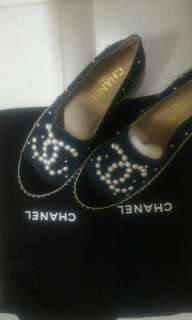 chanel珍珠麂皮厚底鉛筆鞋
