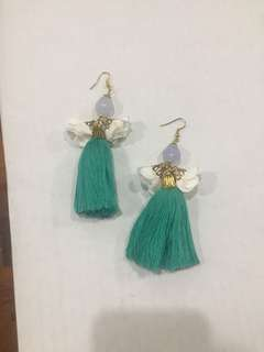 Seafoam Green Tassel Earrings