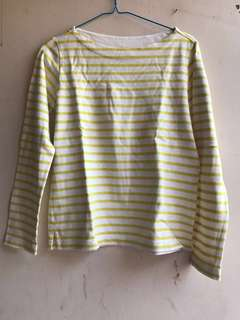 DISKON yellow stripes top (Uniqlo) - kaos garis-garis kuning