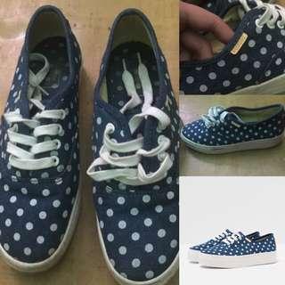 Bershka Print Sneakers Polkadot White Navy