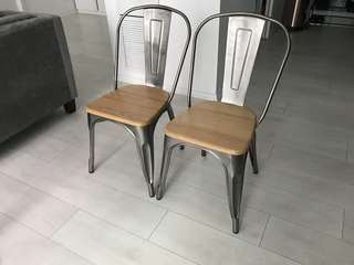 Restored wood dining chairs w/ rustic steel frame