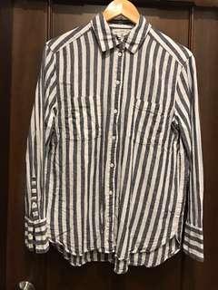 Preloved H&M Linen Shirt - White/Grey Striped (M/EU 38)