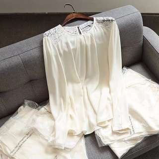 🚚 OshareGirl 05 歐美女士蕾絲拼接雪紡長袖上衣