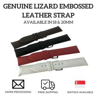 Genuine Lizard Embossed Leather Watch Strap