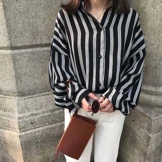 (S~XL) Loose Fitting Vertical stripes loose chiffon shirt spring and summer Korean casual shirt