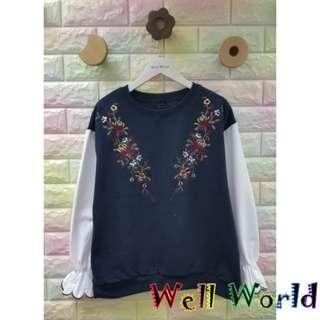 #1718 刺繡圖案拼接恤衫袖長袖T恤上衣(韓國製造)