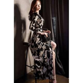 Bohemian Floral Lace Waist Slim Dress Temperament Split Dress Autumn V-Neck Long Wrap Dress