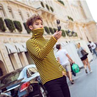 Yellow Turtleneck Stripes Long Sleeve Swag Korean Style Oppa