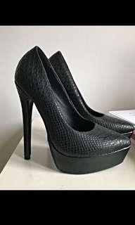 Missguided Snakeskin platform heels