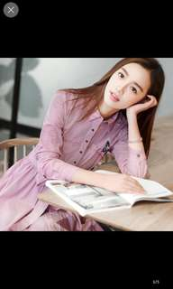 Red long sleeve button butterfly dress