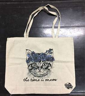 Canvas Tote Bag flower crown cats