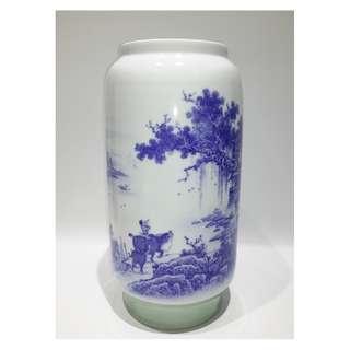 粉彩非物質文化遺產傳承人鄒劍英 -「牧歸圖」青花釉中彩瓷瓶