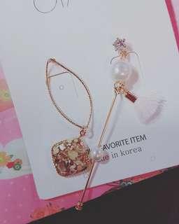 韓國珍珠垂吊耳環