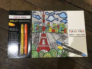 Adult coloring book and higlighter