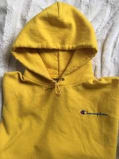 CHAMPION bright yellow hoodie (L)