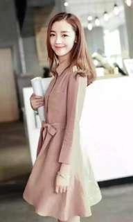 Long sleeve button dress in dusty pink