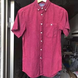 🚚 [final price] Topman 勃根地酒紅單寧襯衫