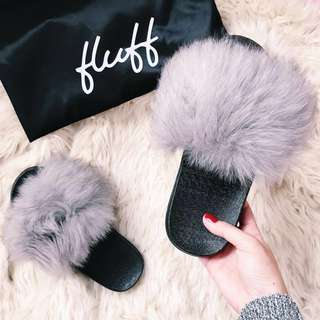 Fluff Fur Slides Grey